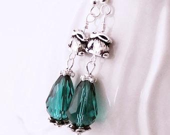 Teal Crystal Rabbit Earrings - Pewter Bunny Beads, Beaded Drop Earrings, Bunny Rabbit Bling , Silver Plated Earwires, Bunny Earrings