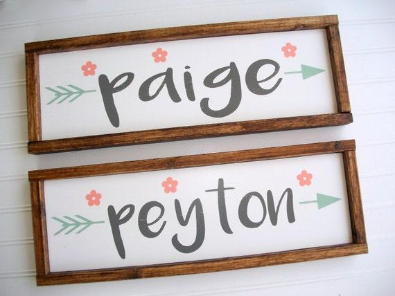 Twins Nursery Name Set . Twins Nursery Decor . Pair of Signs. Boho Tribal Arrow . Coral Mint Peach  . Woodland Arrow Name Sign . Boho  .