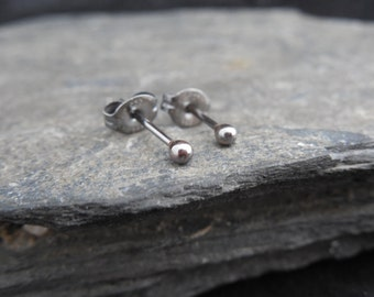 Small ball earrings, sterling silver 0.925, oxydized (antique silver), black, sleepers, second earrings, made to order.