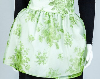 Vintage Apron, Women's Apron, Recycle, Green and White Apron