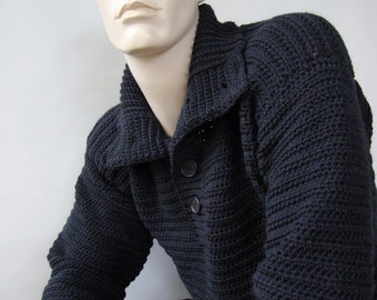 Men's Sweaters, Wool Sweater Men, Black Sweater, Men's Wool Sweater, Men's Sweater, Optional Funnel Neck, Gift for Him, Available in M