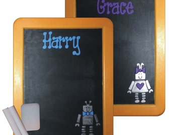 Robots Chalkboard Party Favor / Personalized ROBOTS Chalkboard / Robot Favors / Chalkboard with Chalk