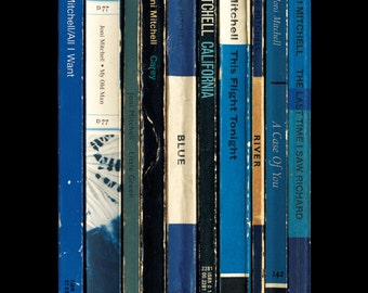 Joni Mitchell 'Blue' Poster Print, Album As Penguin Books, Literary Gift, Music Print, Classic Album Poster