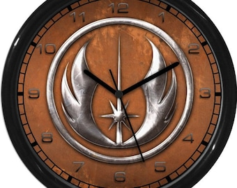 "Star Wars Hero  Jedi Symbol 10"" Wall Clock Personalized Boys Room Decor Wall Art Gift"