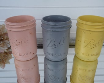 CHOOSE COLOR  Peach, Gray or Yellow Distressed Ball Jars - Wide Mouth Pint Painted Mason Jar Vase Wedding Centerpiece Decor