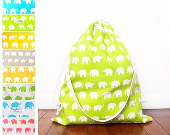 Extra-Large Drawstring Bag / Laundry Bag - Elephants (Choose Your Color)