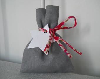Grey linen, liberty tie sweets pouch