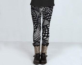 Strichzeichnung einzigartiges Design, schwarzen und weißen Leggings für Frauen, handgefertigte Damen Leggings, verrückte Zeichnung Muster von felicianation