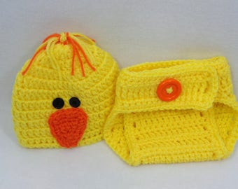 Yellow Duck Cap with Diaper Cover, Ducky Baby Hat, Halloween Costume Hat, MADE TO ORDER by Charlene, Gift for Baby Girl or Boy, Easter Set