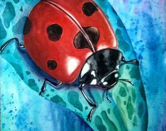 Ladybug on Onion Plant, Original Watercolor Painting