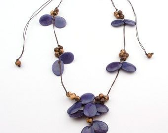 Butterfly Lilac Tagua/ Natural Acai Necklaces