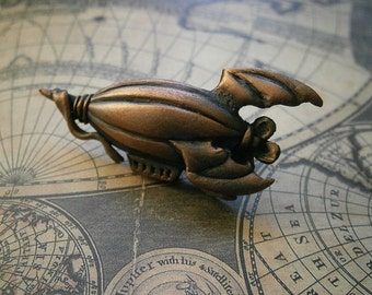 Zeppelin Steampunk Badge, Brooch, Antique Copper, Pewter, Airship
