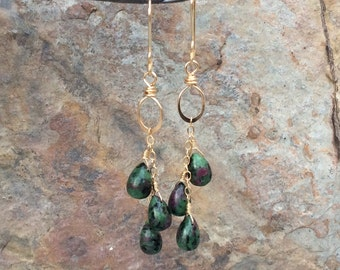 Ruby Zoisite Earrings with 14k gold filled wire, gemstone jewelry, handmade by AngryHairJewelry
