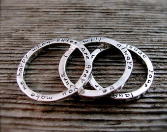 Personalized Hand Stamped Sterling Stack Ring Set of Three