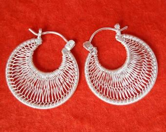 Silver sterling hoop Earrings Creolen / silver 925 / Balinese handmade jewelry / 1 inch / (#400K)