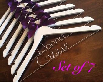 HUGE SALE Set of 7 Personalized Hangers/ Bride/ Wedding Dress Hanger/Bridal Gift/ bridal party GIFTS/ wire hanger/ wedding hanger