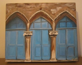 Arches, oil painting, original painting, blue doors, small painting, birthday gift, new home gift, home decor, painting, doors painting