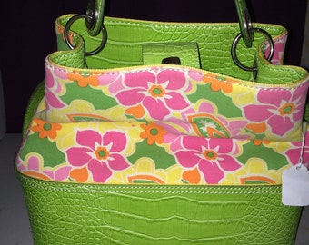 Vintage TOMMY HILFIGER Purse Green Faux-Croc Multi-Color Floral