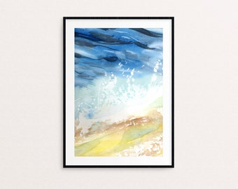 Watercolor Sand and Ocean Painting Print. Room decor. Ocean painting. Wall art. Interior decor. Fine art print.