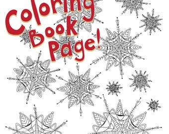 Coloring Book Page, Printable Download: Snowflake hearts, hand-drawn, mandala, zentagle, adult coloring, coloring book printable