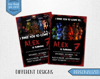 Five Nights at Freddy's invitation, Five Nights at Freddy's birthday invitation, FNAF invitation! 3 designs, personalized.