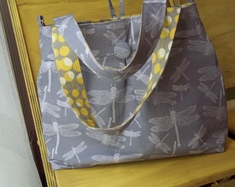 Dragonfly Diaper Bag - Grey Yellow Diaper Bag - 6 Pockets, Reversible, Removeable Strap