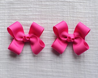 Raspberry Rose Hair Bows,Pigtail Hair Bows,Alligator Clips,3 Inches Wide,Birthday Party Favors