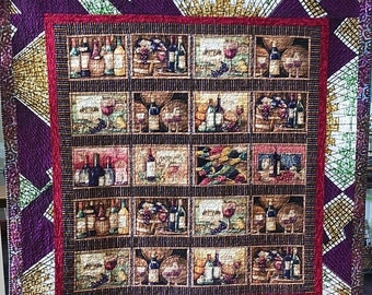 On Sale Wine and Wanderlust 60x64 inch art quilt