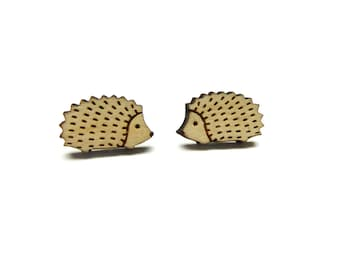 Woodland hedgehog stud earrings ~ laser cut jewellery
