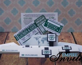 Destination Boarding Pass Wedding Invitations | Custom invites handmade in Canada by --- www.empireinvites.ca ---