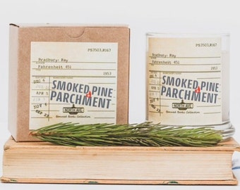 Smoked Pine + Parchment Scented Candle / Inspired by Fahrenheit 451 / Part of North Ave Candles' Banned Books Collection / Book Candles