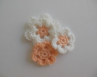 Crocheted Flower Combo - Peach and White - Cotton Flowers - Crocheted Flower Appliques - Crocheted Flower Embellishments