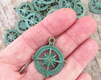 Patina Compass Charms/ Green Patina Bronze  Compass Charms/ Travel/ Good Bye/ Bronze Compass Charms IT102