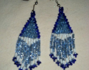 Blue Shimmer Beaded Earrings