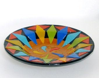 Fused Glass Bowl Bright and Sunny