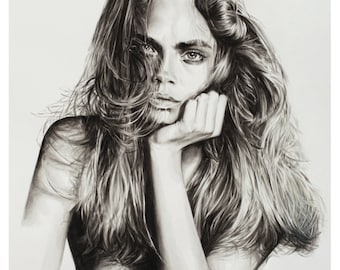 Cara Delevingne illustration by Lauren Leone - Giclee print reproduction