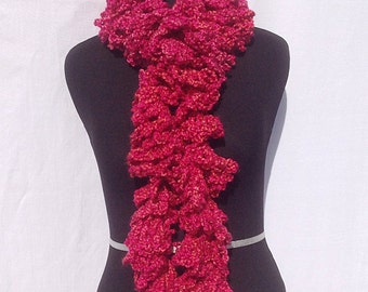 Curly Boa Scarf in Bright Pink with a Hint of Orange
