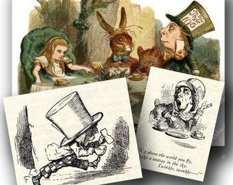 Vintage Alice in Wonderland Digital Collage Sheet John Tenniel Illustrations Black and White Mad Hatter Tea Party Rabbit piddix 647