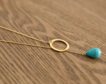Karma Turquoise Chain Necklace, Layering Chain, Gold Disk, Hoop Chain Pendant, Sterling Silver, Pendant Jewelry, December birthstone