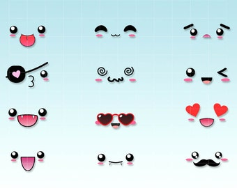 Kawaii faces SET 2 - expressions clipart - emoticons kawaii - Digital graphics for personal and commercial use.