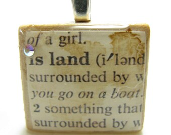Island - vintage dictionary Scrabble tile with Swarovski crystal