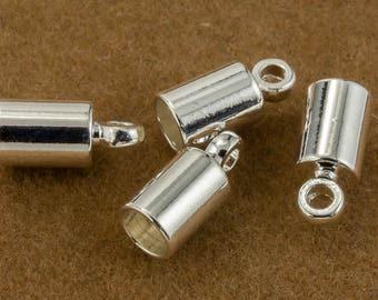 4mm Bright Silver Cord End Cap #MFB108