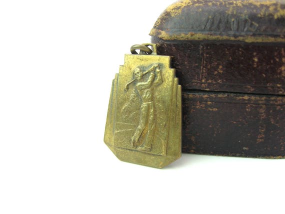 Vintage Hole in One Golfing Medal. Embossed Brass Golf Pendant Presented by US Royal Golf Balls. Art Deco Award