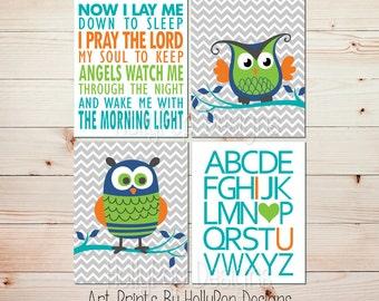 Boy nursery wall decor Owl nursery art Children's Bedtime prayer Now I lay me down ABC I love you print Turquoise Lime Baby boy art #1431