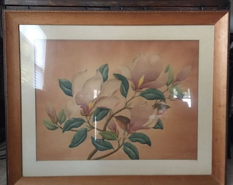 "Local Pickup Please - Original Vintage Shirrell Graves Watercolor Print - Magnolias 34.5""x42.5"" - matted & framed"