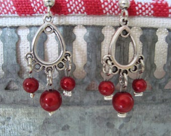 Small original chandeliers and red beads earrings