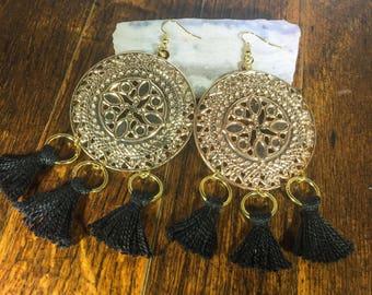 Boho Gold Tassel Dangle Earrings