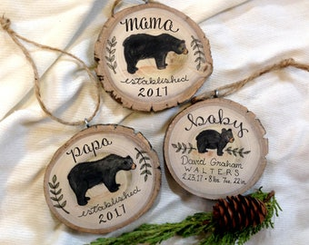 Set - Mama Bear Baby Cub Papa Christmas Ornament Set of 3 / Gift for New Parents 2017 Christmas Family Baby Stats Woodland Mother Father