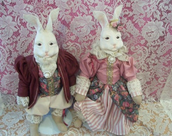Victorian Easter Bunny Couple Figures