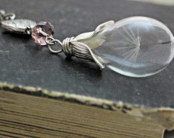 Dandelion Necklace, Wish Necklace, Nature Necklace, Dandelion Seed Necklace, Dandelion Pendant, Glass Vial Necklace, Glass Teardrop Necklace